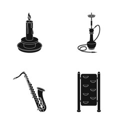 Candle hookah and other web icon in black style vector