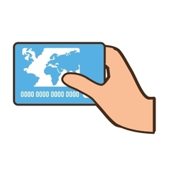 Cartoon hand holds blue credit card bank vector