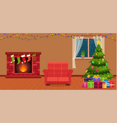 Christmas room interior with fireplace vector