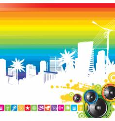 Cityscape and loudspeakers vector