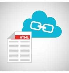 Cloud technology web language link vector