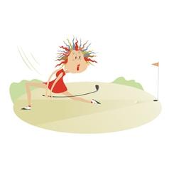 Comic cartoon women is playing golf vector