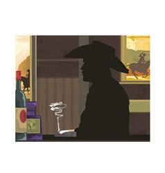 Cowboy silhouette vector image