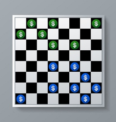 Dollar signs on checkers background vector