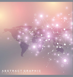 dotted world map with global technology networking vector image vector image