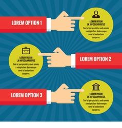 Human hands with information blocks infographic vector image vector image