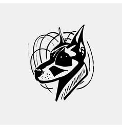 Logo symbol sign stencil dog head Unique technique vector image