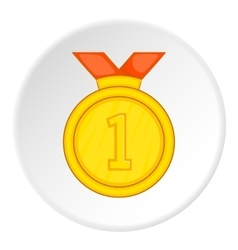 Medal with ribbon icon cartoon style vector