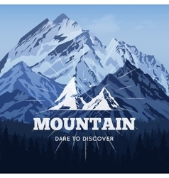 Mountains in winter poster vector