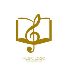 Music logo treble clef and book vector