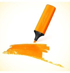 Orange marker with drawn spot vector