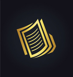 paper file business gold logo vector image