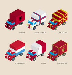 set of isometric 3d cargo trucks with flags vector image