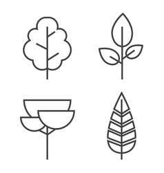 set of line trees forest creative icons vector image vector image