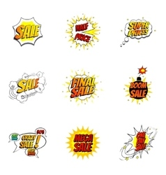Set of sale symbols in pop art style vector image
