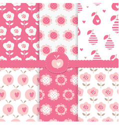 set of seamless patterns with abstract floral vector image