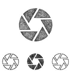Shutter icon set - sketch line art vector image vector image