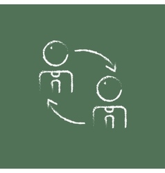 Staff turnover icon drawn in chalk vector
