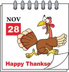 Thanksgiving cartoon calendar vector image vector image