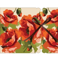 Watercolor poppy flowers card vector