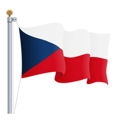 waving czech republic flag isolated on a white vector image vector image