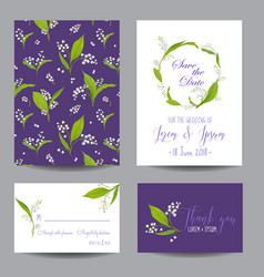 wedding cards set with blossom lily flowers vector image vector image