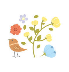 With flowers collection and bird vector