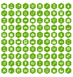 100 finance icons hexagon green vector image vector image