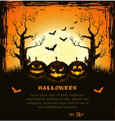 Orange grungy halloween background vector image
