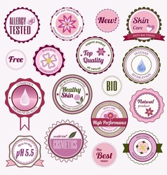 Set of cosmetic badges labels and stickers vector