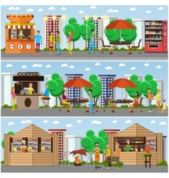 Street food festival concept banner people vector