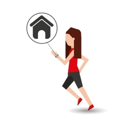 Sport girl running with smart watch homepage vector
