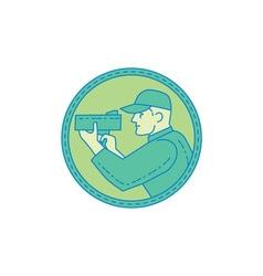 Policeman speed radar gun circle mono line vector