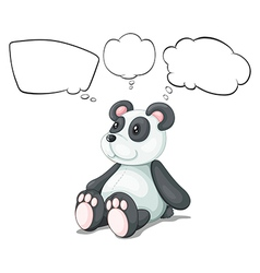 A toy panda with empty thoughts vector