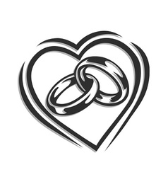 Wedding ring in heart vector