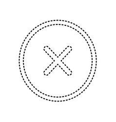 Cross sign   black dashed icon vector