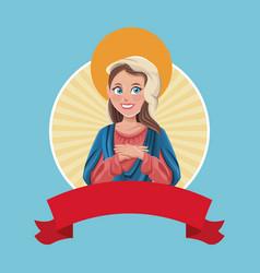 Virgin mary religious sac image vector