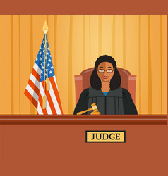 judge black woman in courtroom flat vector image