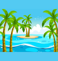 Scene with trees on island vector