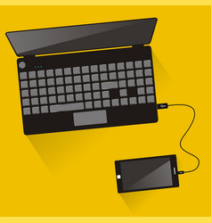 Laptop connected to smartphone top view vector