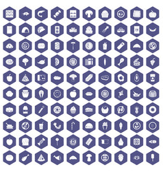 100 meal icons hexagon purple vector