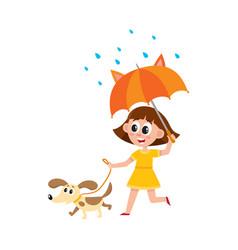 Girl walks with dog umbrella in rain vector