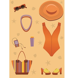 Bright beach set for woman vector
