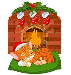 Christmas kitten sleeping near fireplace vector