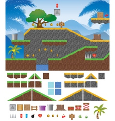 Platform game tropical vector