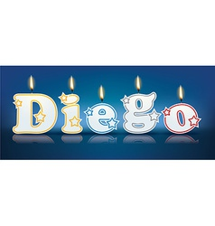 Diego written with burning candles vector