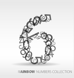 Number six design elements vector