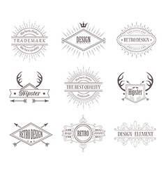Set of vintage labels line emblems frames vector