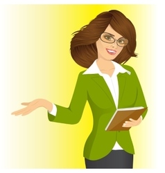 Smiling business woman showing something vector
