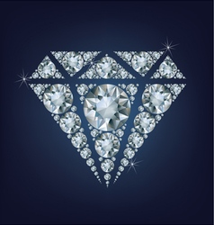 Shiny bright diamond symbol made a lot of diamonds vector